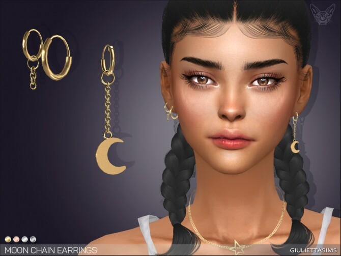Sims 4 Moon Chain Earrings by feyona at TSR