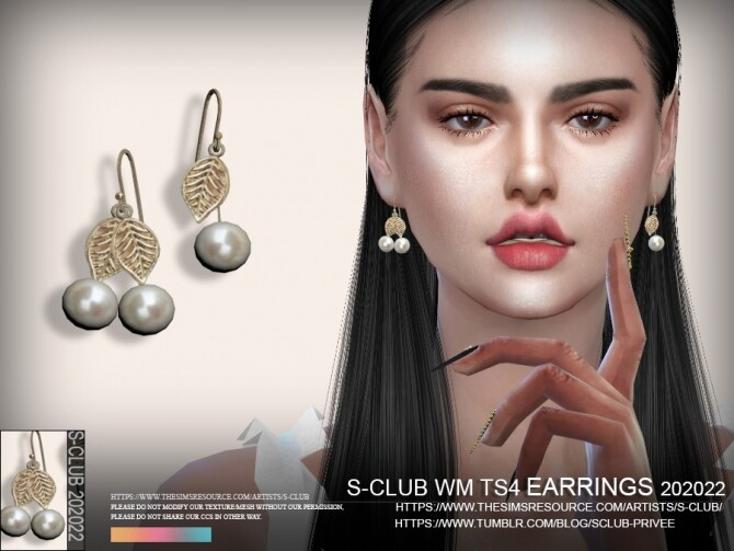 Sims 4 EARRINGS 202022 by S Club WM at TSR