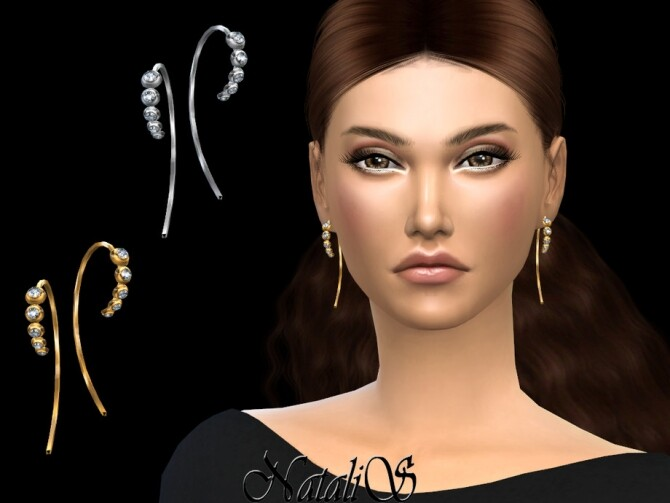 Sims 4 Graduated crystals wire earrings by NataliS at TSR