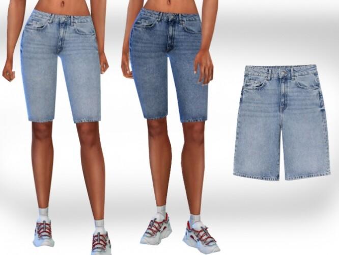 Female Capri Mesh Denim Shorts by Saliwa