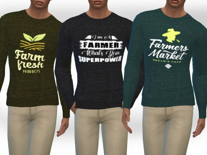 Sims 4 Male Long Sleeve Melange Farmer Tops by Saliwa at TSR