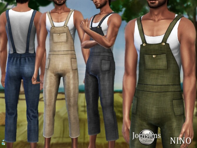 Nino farmer overalls by  jomsims at TSR image 57 670x503 Sims 4 Updates