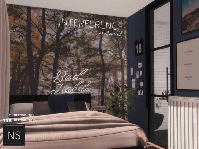 Sims 4 Interference Wall Mural by Networksims at TSR