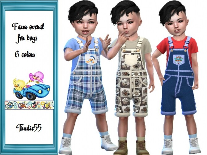 Sims 4 Farm overall for boys by TrudieOpp at TSR