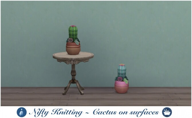 Place knitted cactus on surfaces by Narcolepzzzy