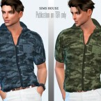 Men shirt short sleeve military print tucked by Sims House
