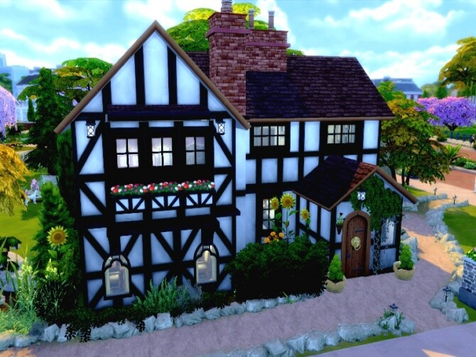 Sims 4 Old English Farmhouse by GenkaiHaretsu at TSR
