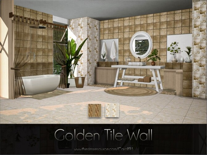 Sims 4 Golden Tile Wall by Caroll91 at TSR