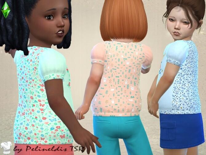 Sims 4 Toddler Girl Summer Blouse by Pelineldis at TSR