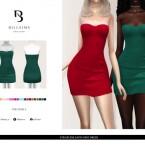Strapless Satin Mini Dress by Bill Sims