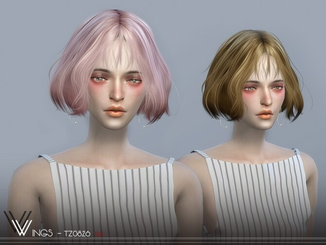 Sims 4 WINGS TZ0826 hairstyle by wingssims at TSR