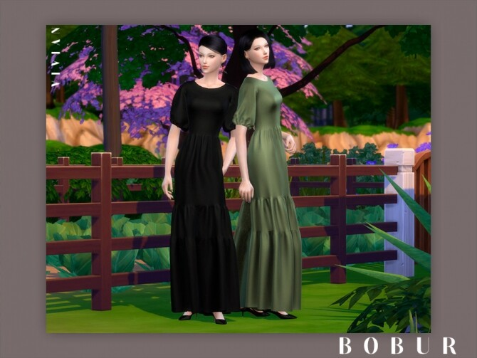 Sims 4 Vivian farm dress by Bobur3 at TSR