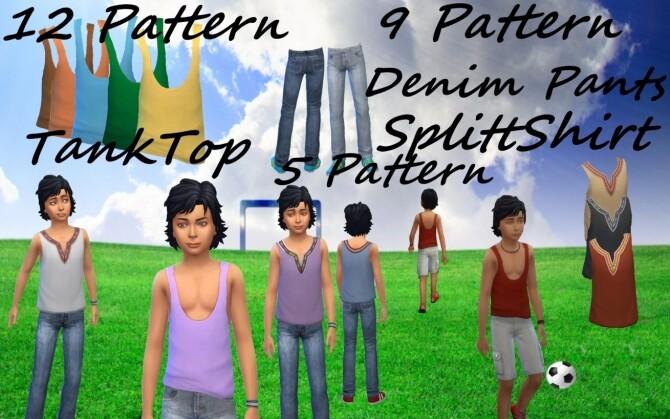 Split Shirt Tank Top Denim Pants