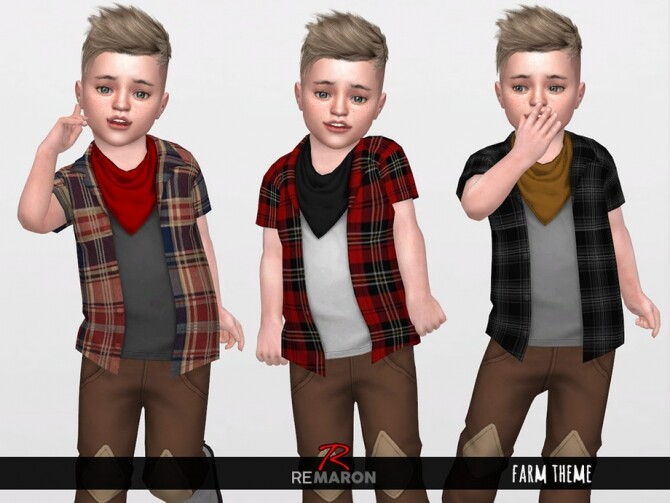 Farm 2 Shirts Scarf for Toddler 01 by remaron at TSR image 736 670x503 Sims 4 Updates