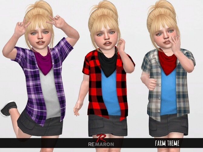 Farm 2 Shirts Scarf for Toddler 01 by remaron at TSR image 745 670x503 Sims 4 Updates