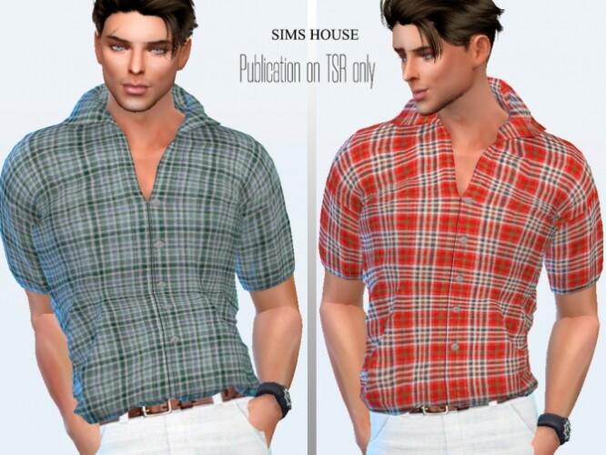 Men check short sleeve shirt by Sims House