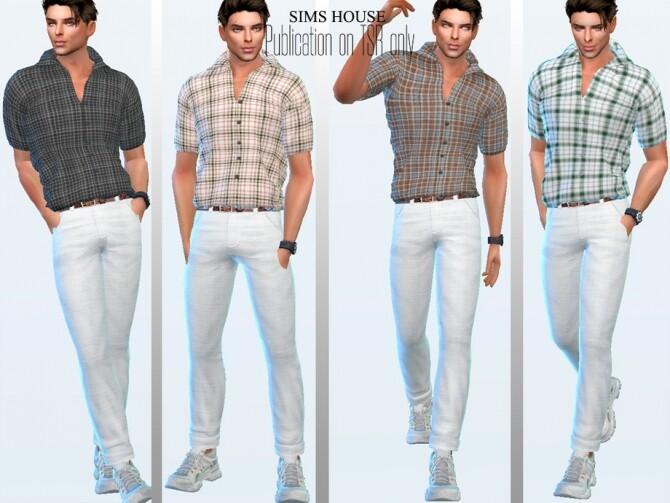 Sims 4 Mens check short sleeve shirt by Sims House at TSR