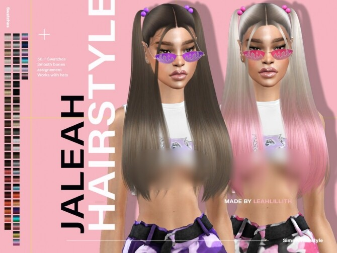 Sims 4 Jaleah Hairstyle by LeahLillith at TSR