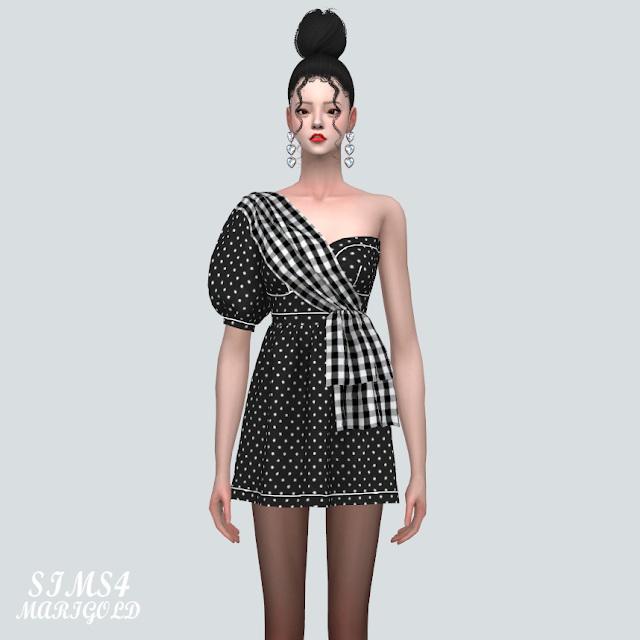 Unbalance Puff Sleeves Mini Dress at Marigold image 804 Sims 4 Updates