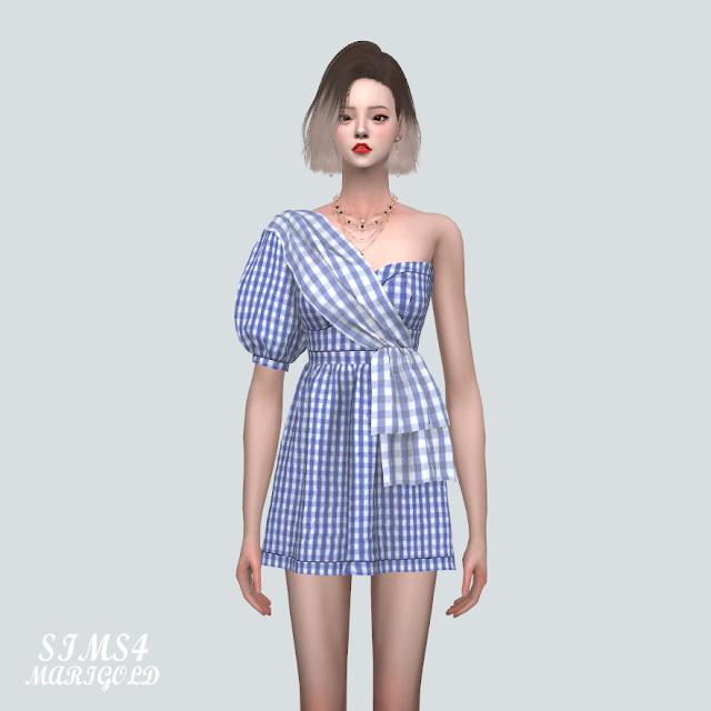 Unbalance Puff Sleeves Mini Dress at Marigold image 817 Sims 4 Updates