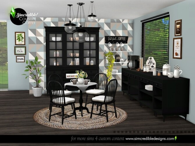 Sims 4 Country Coffee Dining Area by SIMcredible at TSR