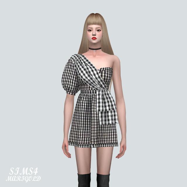 Unbalance Puff Sleeves Mini Dress at Marigold image 824 Sims 4 Updates