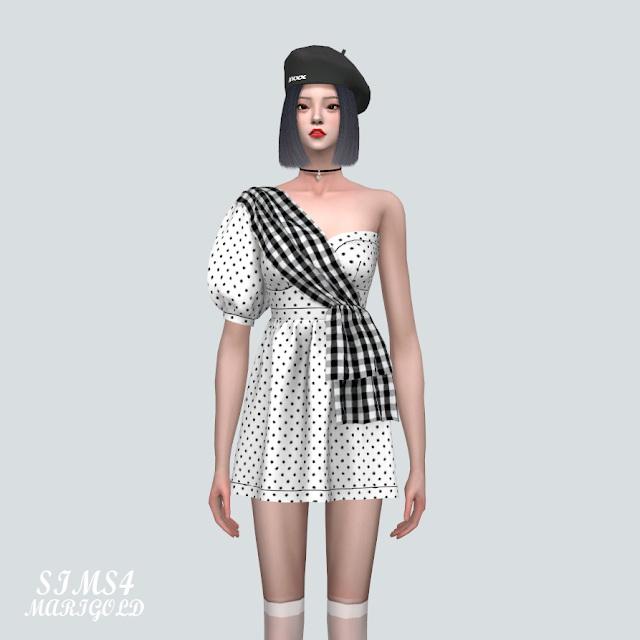 Unbalance Puff Sleeves Mini Dress at Marigold image 834 Sims 4 Updates