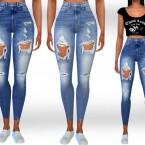 Female Full Ripped Jeans by Saliwa