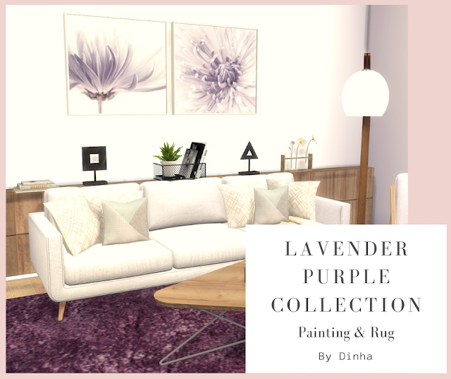 Lavender Purple Collection: Painting & Rug at Dinha Gamer image 846 Sims 4 Updates