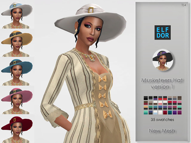 Sims 4 Lady Musketeer Hat V1 at Elfdor Sims