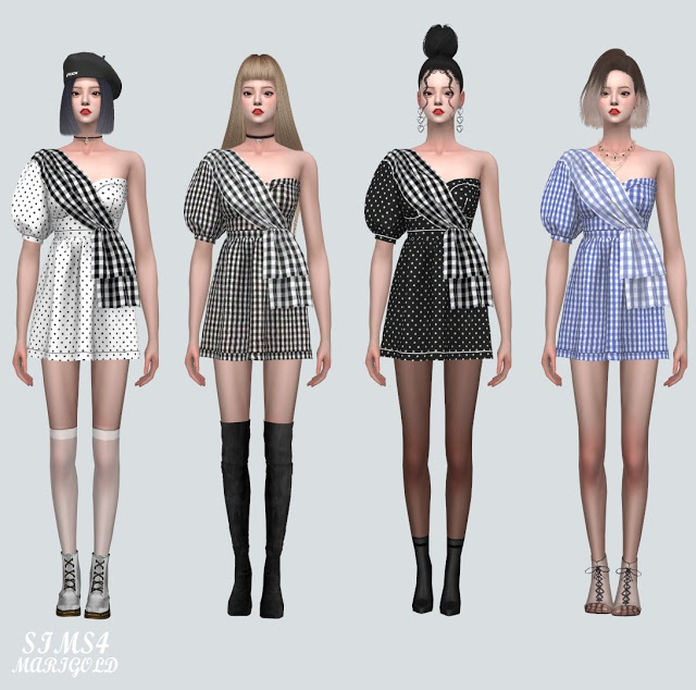 Unbalance Puff Sleeves Mini Dress at Marigold image 854 Sims 4 Updates