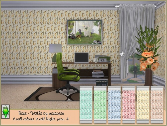 Sims 4 Tears walls by marcorse at TSR