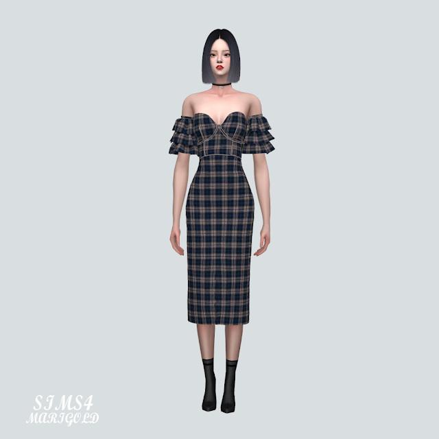 Sims 4 Tiered Sleeves Off Shoulder Midi Dress at Marigold