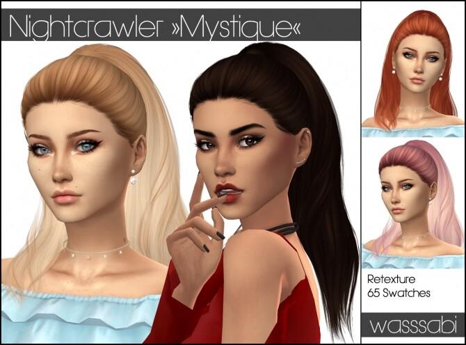 Sims 4 Nightcrawlers Mystique hair retextured at Wasssabi Sims