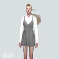 Pleats Mini Dress With Shirts