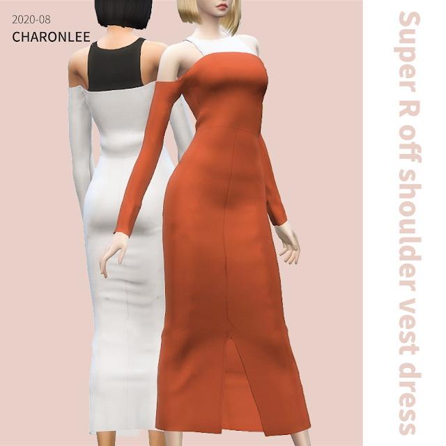Sims 4 Super R off shoulder vest dress at Charonlee