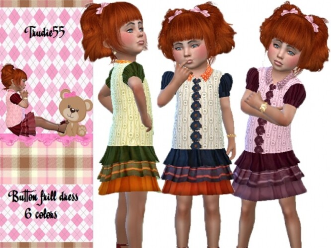 Button frill dress by TrudieOpp