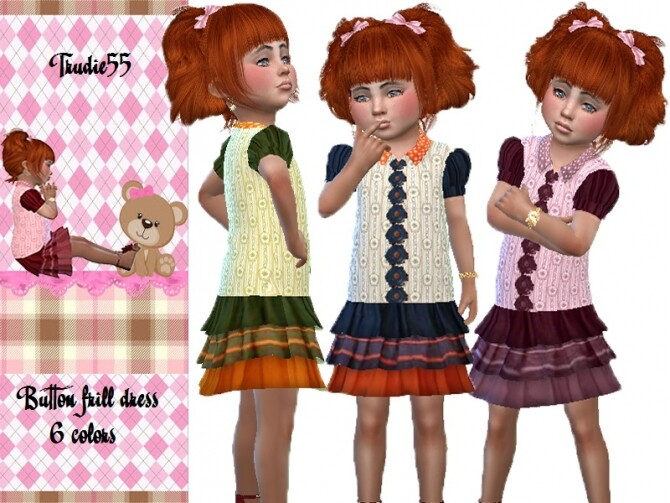 Button frill dress by TrudieOpp at TSR image 928 670x503 Sims 4 Updates