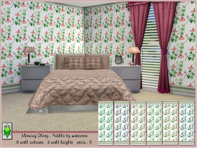 Sims 4 Morning Glory Walls by marcorse at TSR