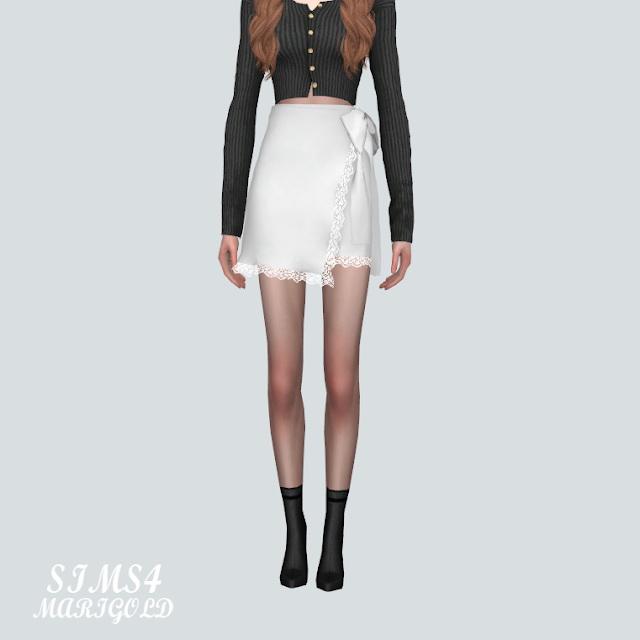 Sims 4 Lace Cute Mini Skirt V2 at Marigold