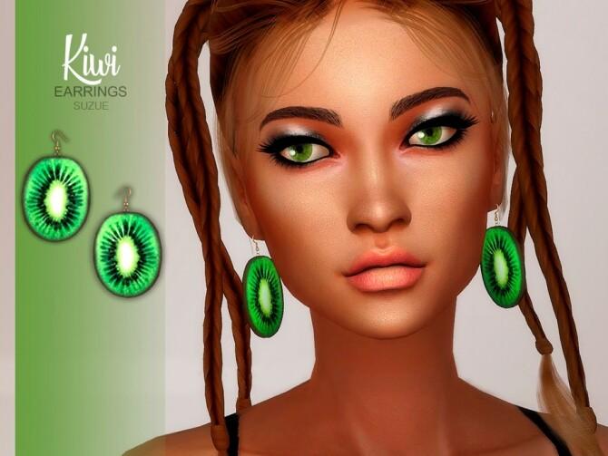 Sims 4 Kiwi Earrings by Suzue at TSR