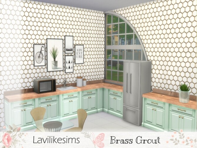 Sims 4 Brass Grout Hexagon wallpaper by lavilikesims at TSR