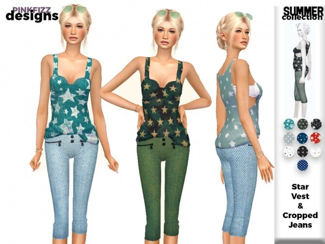 Sims 4 Summer Star Vest & Jeans PF157 by Pinkfizzzzz at TSR