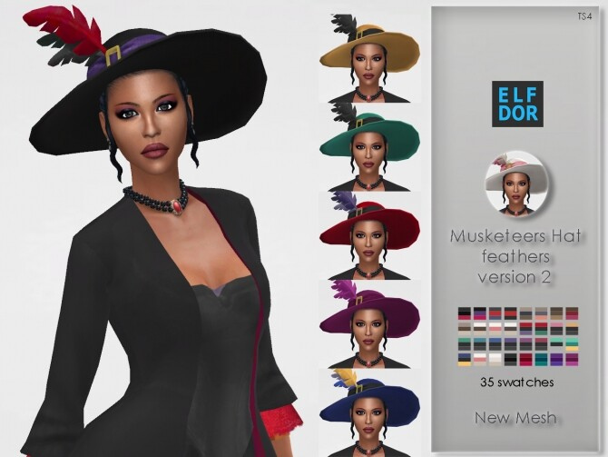 Lady Musketeer Hat with feathers V2 at Elfdor Sims image 9713 670x503 Sims 4 Updates