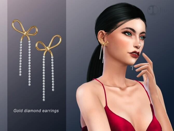 Sims 4 Gold diamond earrings by Jius at TSR