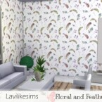 Floral and Feathers wallpaper by lavilikesims
