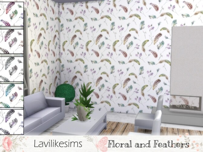 Sims 4 Floral and Feathers wallpaper by lavilikesims at TSR