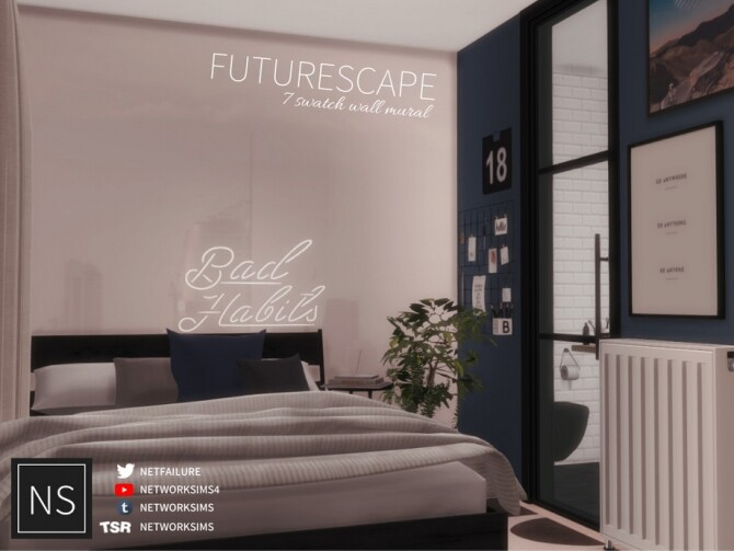 Sims 4 Futurescape Wall Mural by networksims at TSR