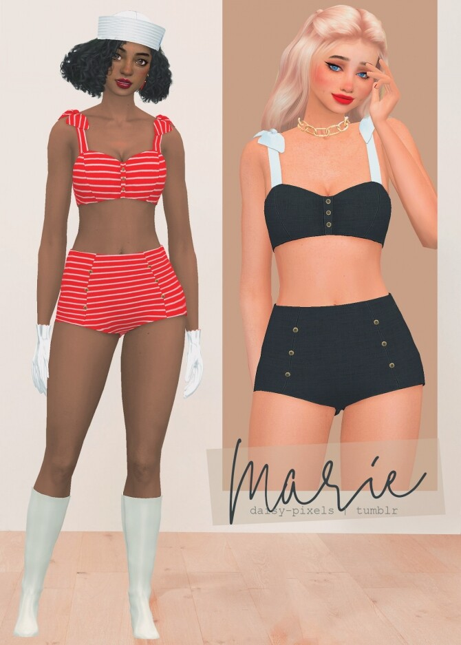 Sims 4 Marie swimsuit + gloves & hat at Daisy Pixels