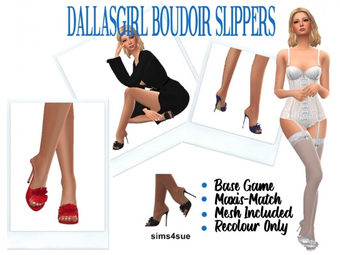 DALLASGIRL'S BOUDOIR SLIPPERS at Sims4Sue image 105 670x503 Sims 4 Updates